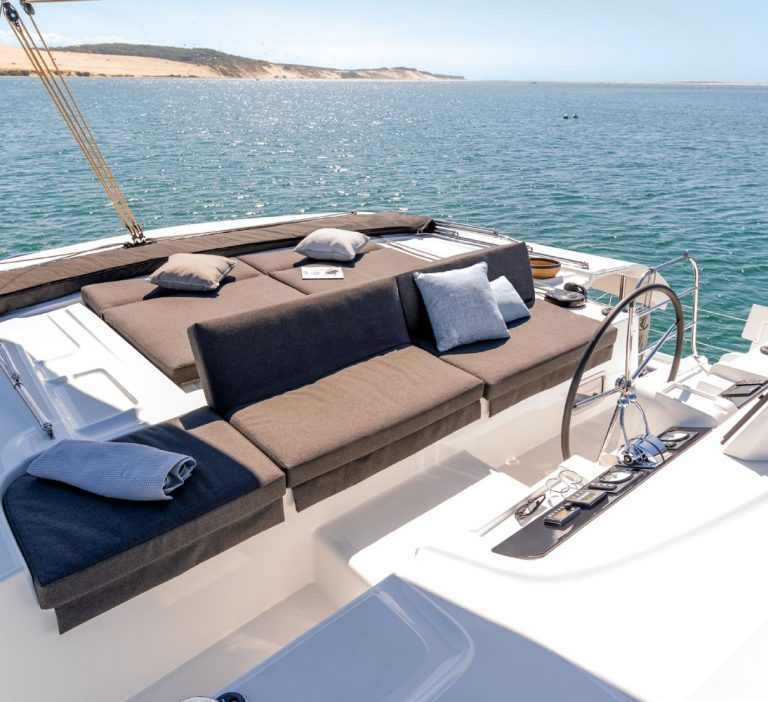 Wine and Catamaran Club Lagoon 46 Flybridge Sun Deck