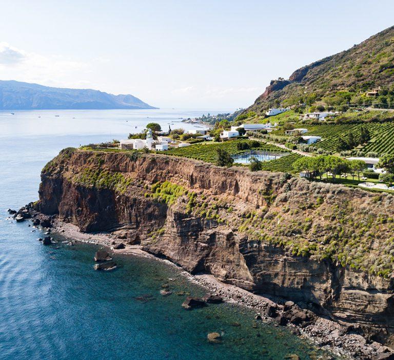 A view of the Tenuta di Capofaro in Salina. A journey with Wine and Catamaran Club through the Aeolian Islands.