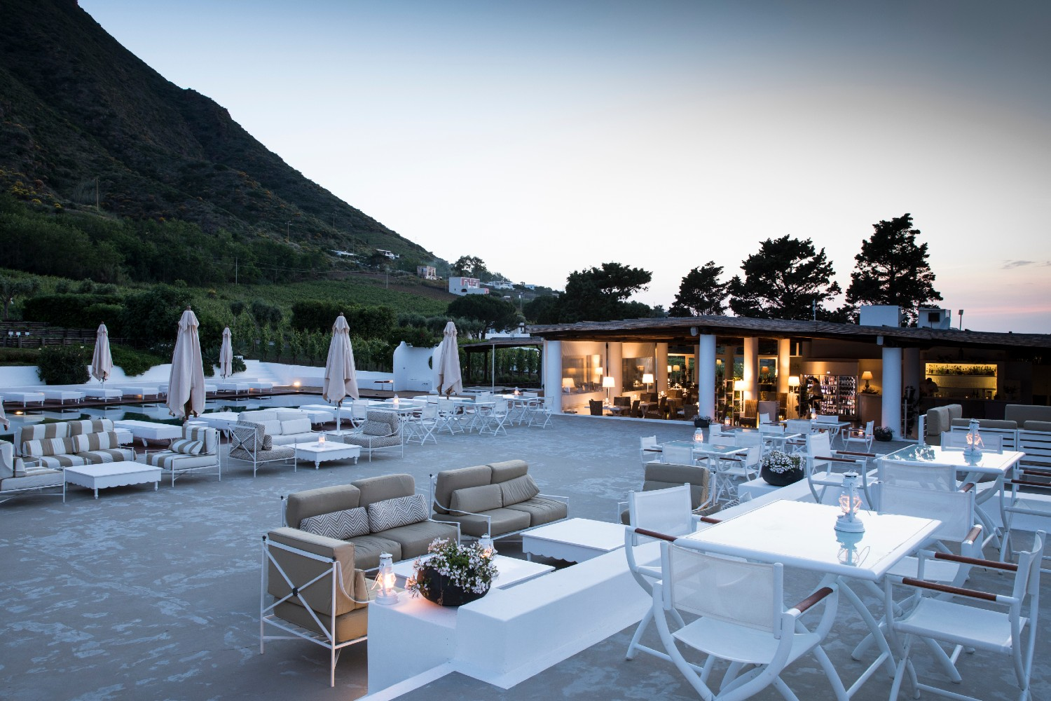 The terrace at Tenuta di Capofaro where guests of the Wine and Catamaran Tour of the Aeolian Islands will enjoy a coffee during their visit to the vineyard