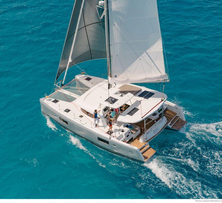 Lagoon 42 sailing in the sea
