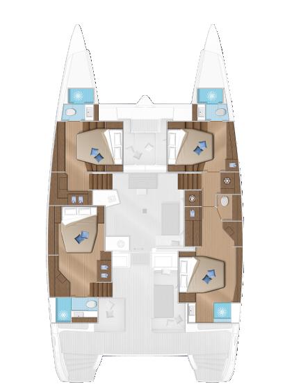 Wine and Catamaran Club, Lagoon 52 Layout