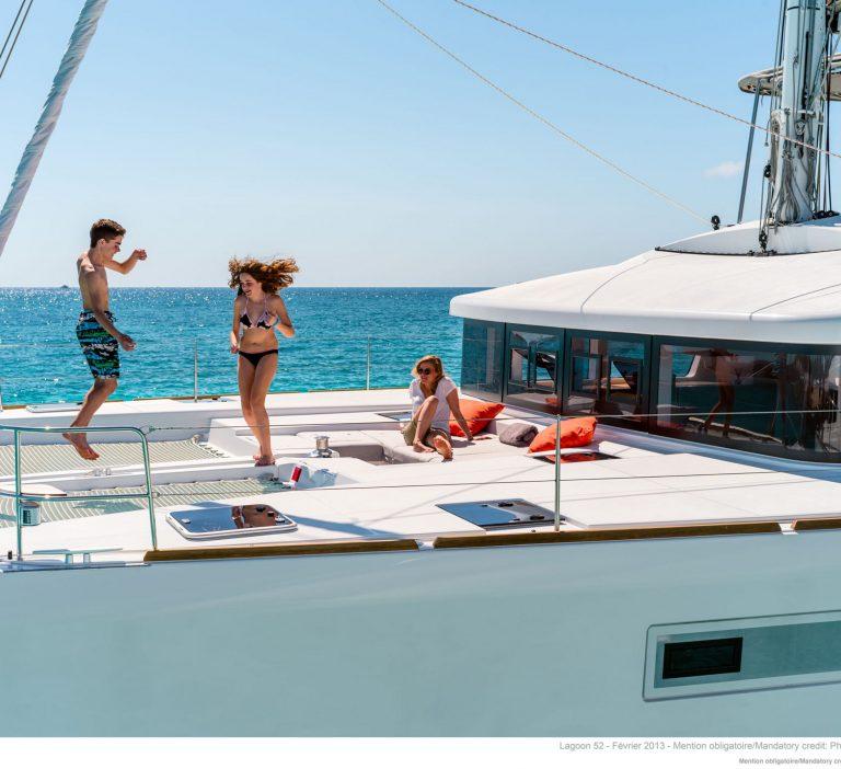 Wine and Catamaran Club, Lagoon 52 Kids having fun