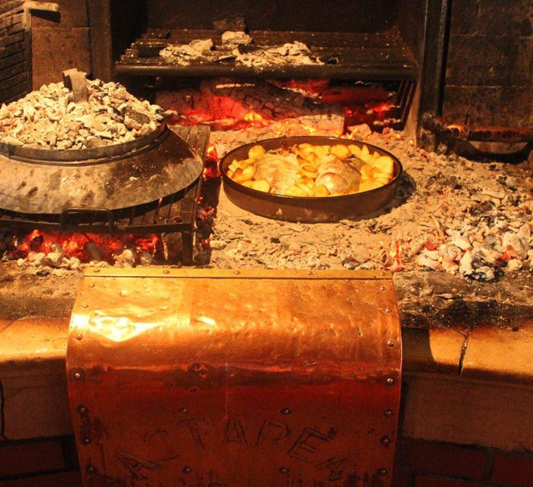 Fish fried in peka at Astarea restaurant in Croatia