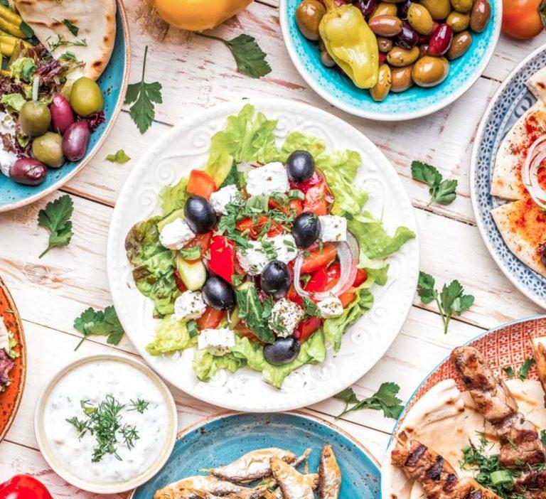Typical Healthy Greek Food Platter
