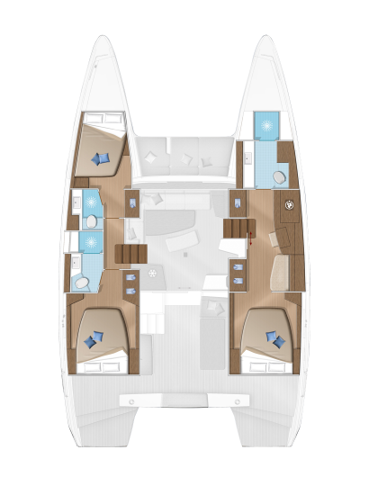 The accomodation layout of the Lagoon 42 with 3 double cabins and two crew cabins