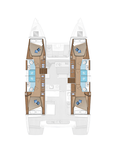 The accomodation layout of the Lagoon 46 with 4 double cabins and two crew cabins
