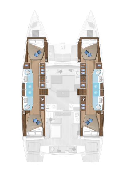 The accomodation layout of the Lagoon 50 with 5 double cabins and two crew cabins