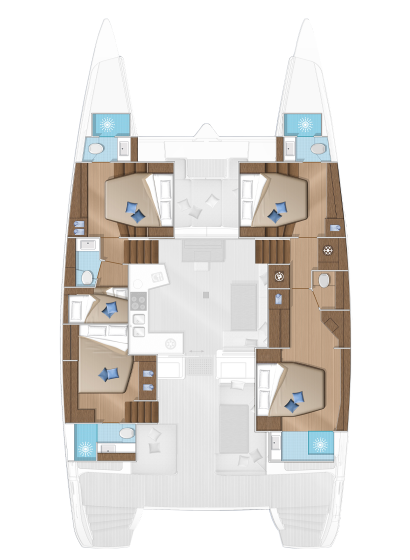 The accomodation layout of the Lagoon 52F with 5 double cabins and two crew cabins